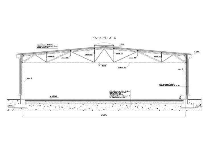 Przekrój hali modułowej - rysunek techniczny